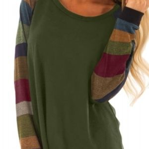 Color block camo green long sleeve